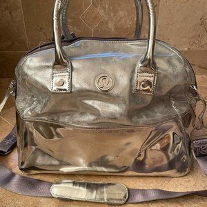 Lululemon Metallic Silver Duffle Bag
